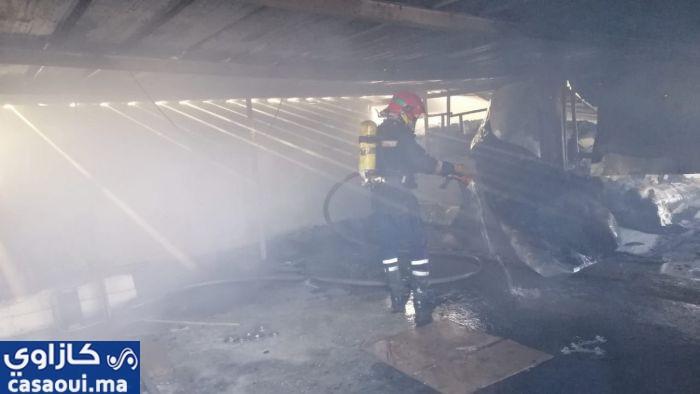فيديو … حريق بإحدى شركات الحي الصناعي بمولاي رشيد