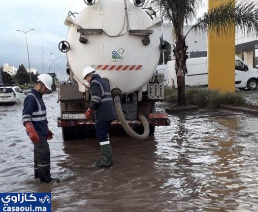 بعد تساقطات مطرية عاصفية فرق ليدك معبأة ميدانيا في مختلف أنحاء الدار البيضاء الكبرى