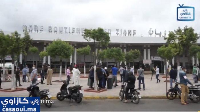 بالفيديو : المحطة الطرقية أولاد زيان  بالدار البيضاء في أول يوم من رفع الحجر