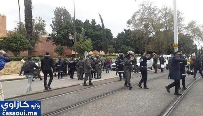 الشرطة تفرق الأساتذة بالرباط