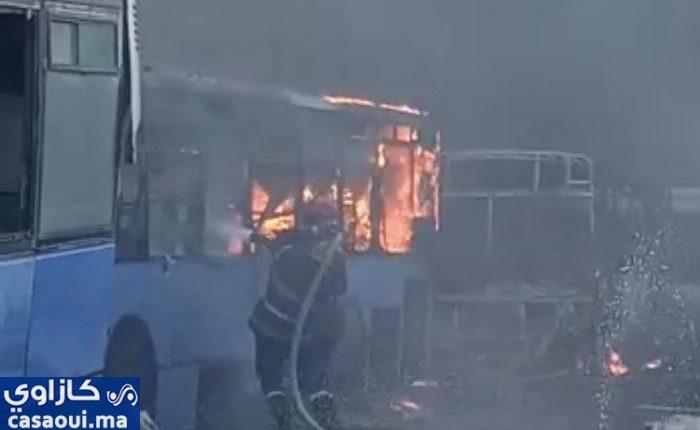 حريق يأتي على 30حافلة بطريق أزمور