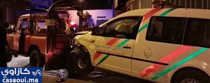 انقلاب سيارة شرطة عقب مطاردة هوليودية بالحي المحمدي