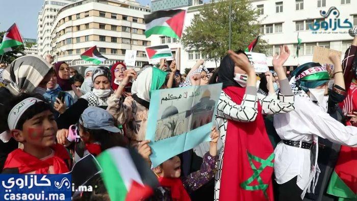 بالفيديو: وقفة تضامنية مع الشعب الفلسطيني بالدار البيضاء